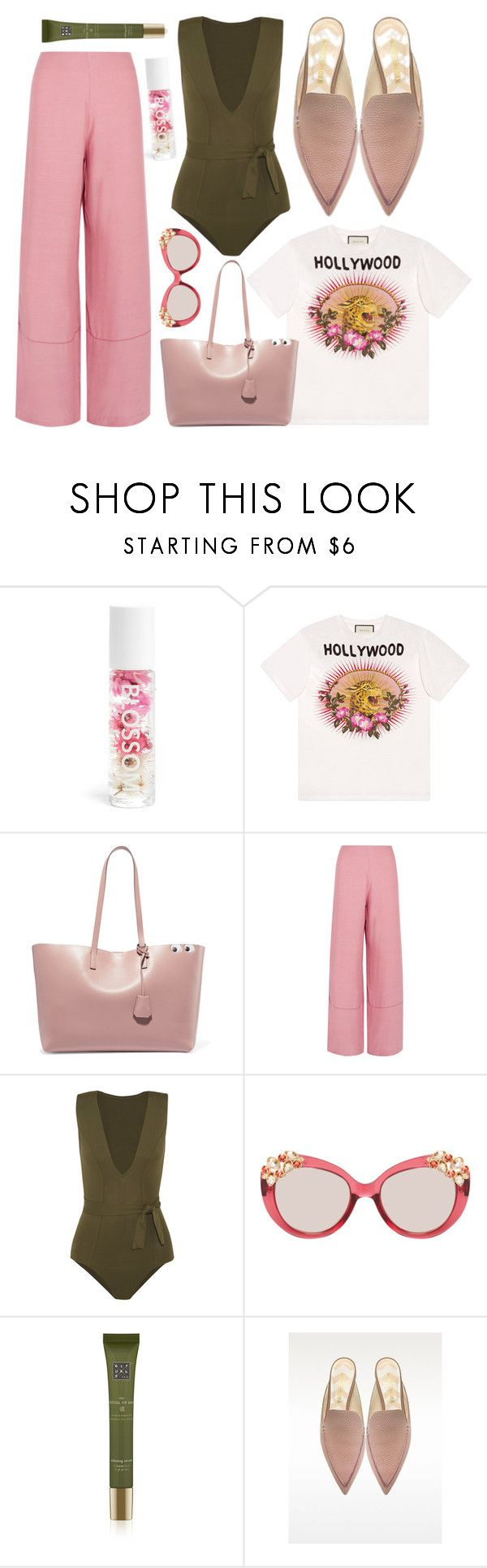"""""""Pink + Olive"""" by cherieaustin ❤ liked on Polyvore featuring Blossom, Gucci, Anya Hindmarch, Staud, Eres, Jimmy Choo, Rituals and Nicholas Kirkwood"""
