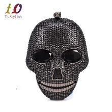 Black handmade Skull crystal women evening bags Halloween gift bags luxury diamond ladies handbags party Clutch purse SC027(China (Mainland))