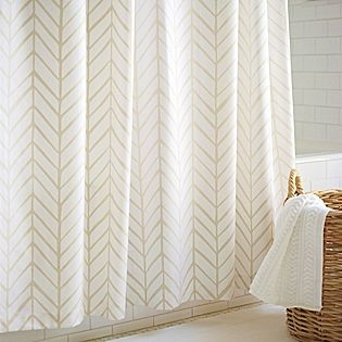 Feather Shower Curtain Bone