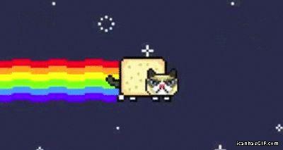 Grumpy cat vs. Nyan cat…(Tap to see gif)