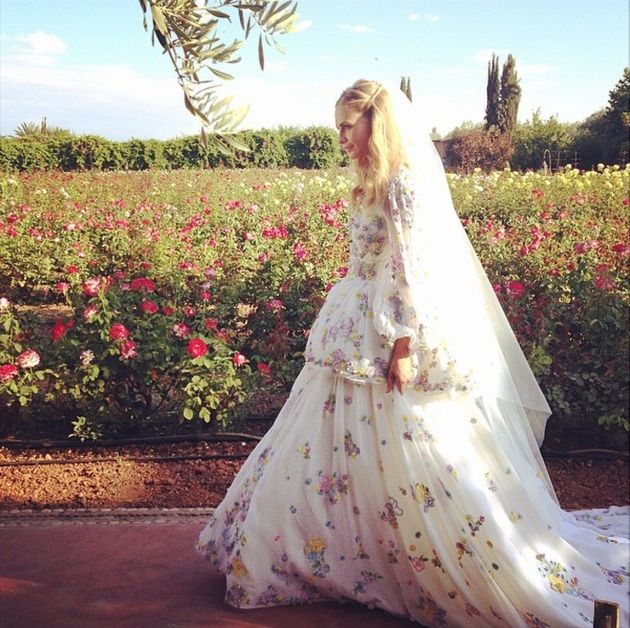 Poppy Delevingne. Photo: Instagram @gianlucalongogg  Floral wedding gown by @Emilio Sciarrino Pucci