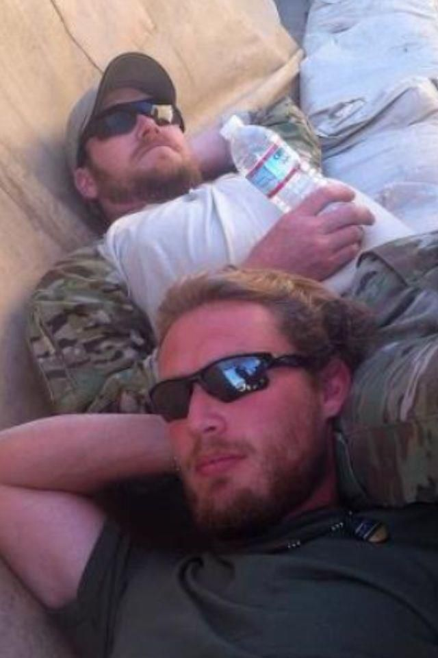 Chris Kyle & Grady Powell (Resting on the Set of Stars Earn Stripes)