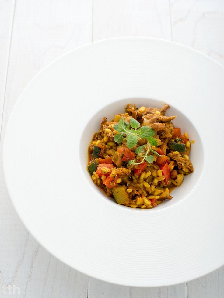 true taste hunters - kuchnia wegańska: Pęczotto z cukinią, kurkami i papryką (wegańskie)