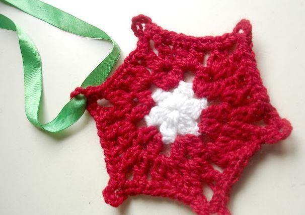 Holly Berry Red Snowflake | AllFreeCrochet.com