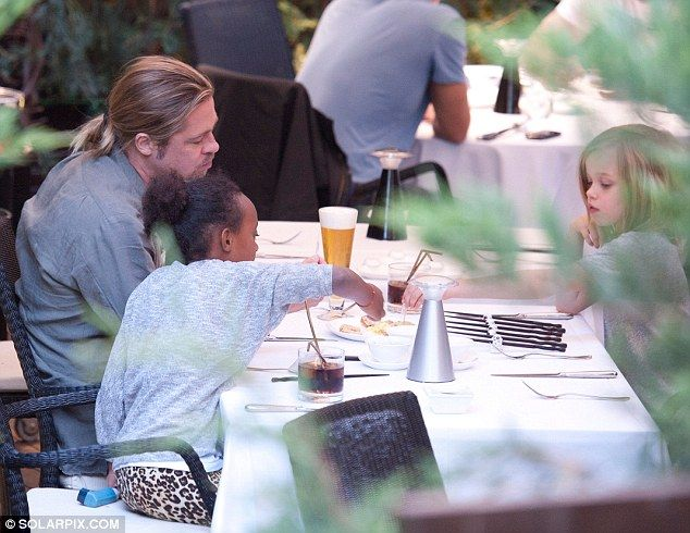 Brad Pitt enjoys meal with Shiloh and Zahara... as Angelina Jolie's stunt double reveals details about couple's first months together   Mail Online