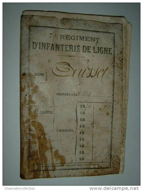 LIVRET MILITAIRE 1875 AUSSET ANTOINE 7 EME REGIMENT D INFANTERIE DE LIGNE CAHORS L HOSPITALET CASTELNAU LOT