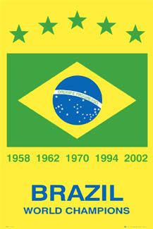 BRAZIL 5x WORLD CUP CHAMPIONS Football Soccer Poster - World Cup 1958, 1962, 1970, 1994, 2002 ~ available at www.sportsposterwarehouse.com