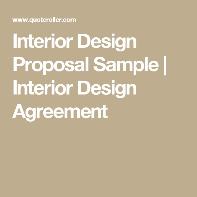 Interior Design Proposal. An Interior Design Rfp Is Important If