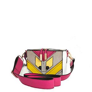 Pink monster cross body handbag