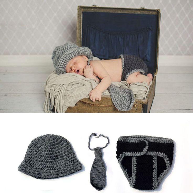 Crochet Knit Baby Beanie Necktie and Diaper Covered Underwear Little Gentleman Newborn Photo Props Studio Prop Costume JC018