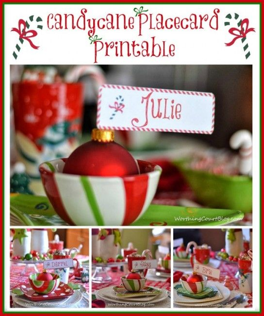 Worthing Court: Free Candycane Placecard or Gift Tag Printable for Christmas