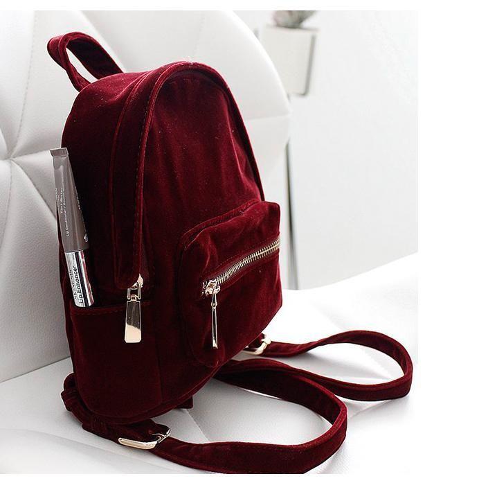 69872f786757 itGirl Shop RED VELVET COLLEGE DOUBLE ZIPPER GRUNGE BACKPACK Aesthetic  Apparel