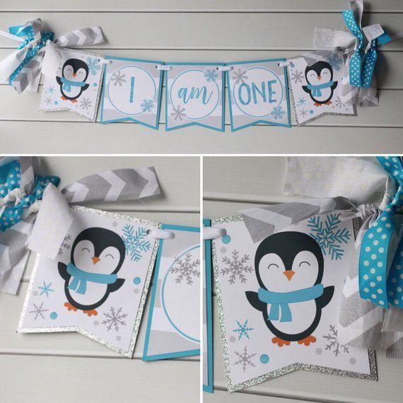 Arctic Penguin Winter Onederland Birthday Banner