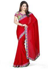 Red Color Satin Chiffon Jacquard Function & Party Wear Sarees : Nairiti Collection  YF-41321