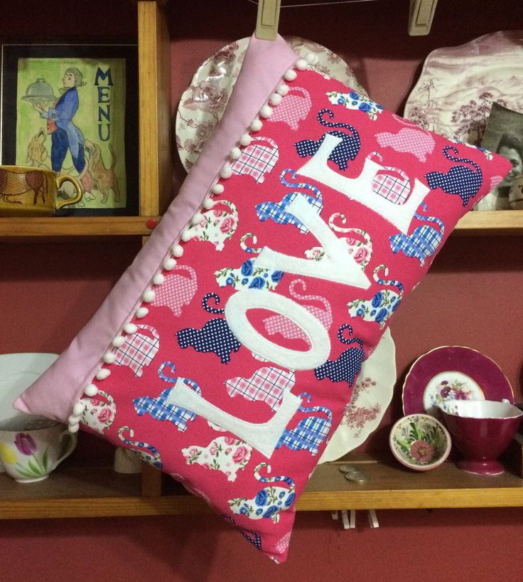 A personal favourite from my Etsy shop https://www.etsy.com/uk/listing/505076187/pink-cat-love-cushion-shabby-chic