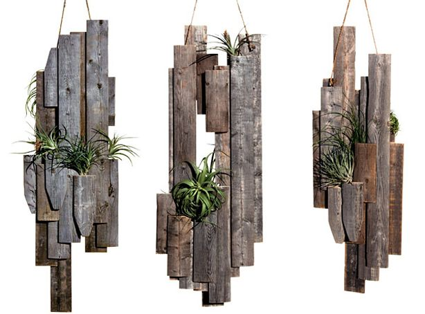 A collection of design objects and sculptures created from wood scraps and other found materials,
