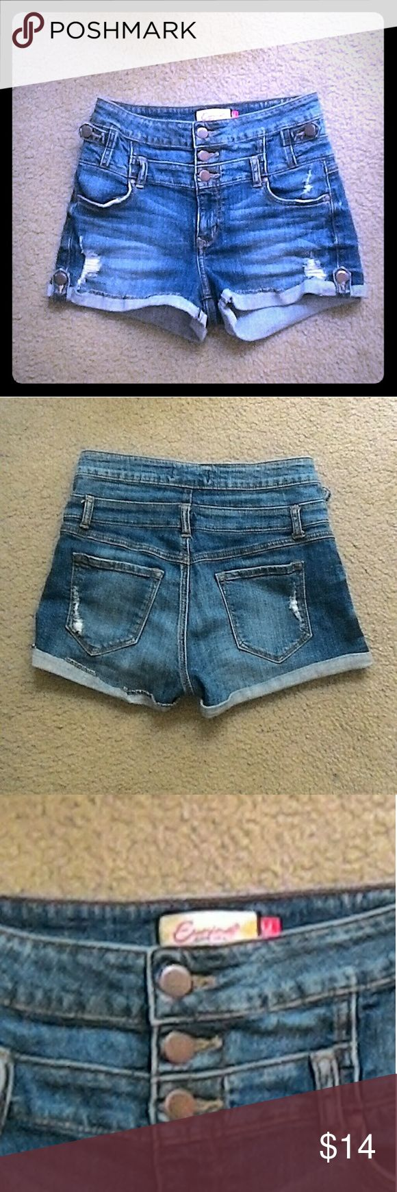 """EUC Eunina High-Waisted Shorts No flaws. Factory distressed. Lots of stretch. Fabric contents are in Spanish, so I'm not sure what they are. Very comfortable. 26"""" waist laid flat and measured from the back. 2"""" inseam and 10"""" rise! Eunina Shorts Jean Shorts"""
