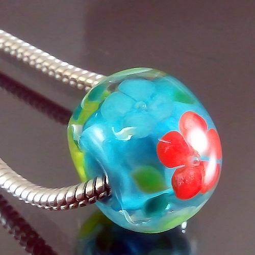 lampwork 1 charm bead big hole flower the skyu003d