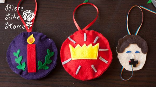 GORGEOUS felt ornaments for Truth in the Tinsel from morelikehome.net