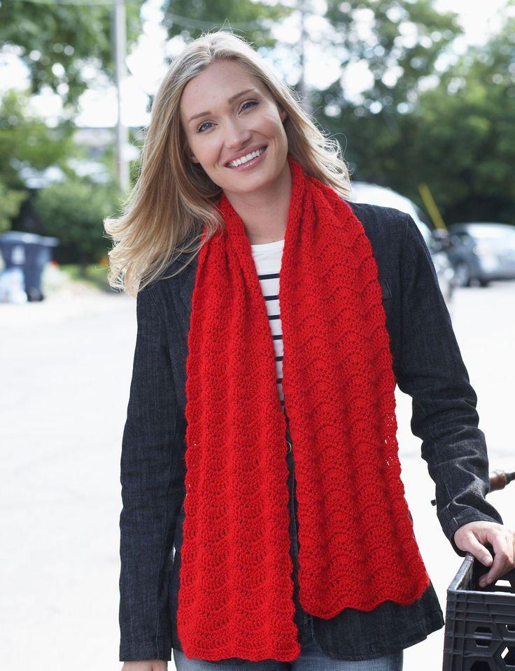 free crochet  pattern from  Yarnspirations.com - Bernat Red Friday Scarf - Patterns  | Yarnspirations
