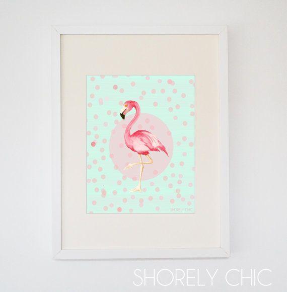 Minze und Korallen Flamingo Spaß drucken von PureJoyPaperie auf Etsy