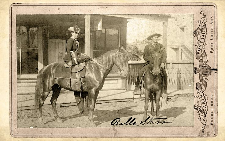 The Bandit Queen Belle Starr of the Indian Territory was another lady attracted to outlaws. She consorted with some, including Cole Younger, and married others, Jim Reed and Sam Starr. This cabinet card of her on her horse dates to 1886, three years before she was mysteriously murdered.