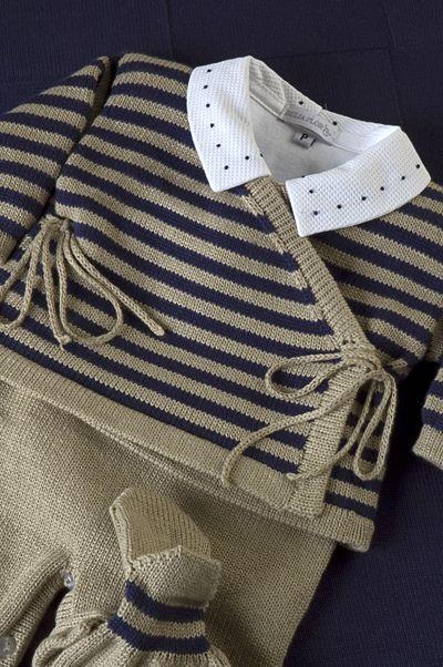 Conjunto Cashquere, listrado com body gola bordada poá azul marinho! by beijaflormodas, via Flickr