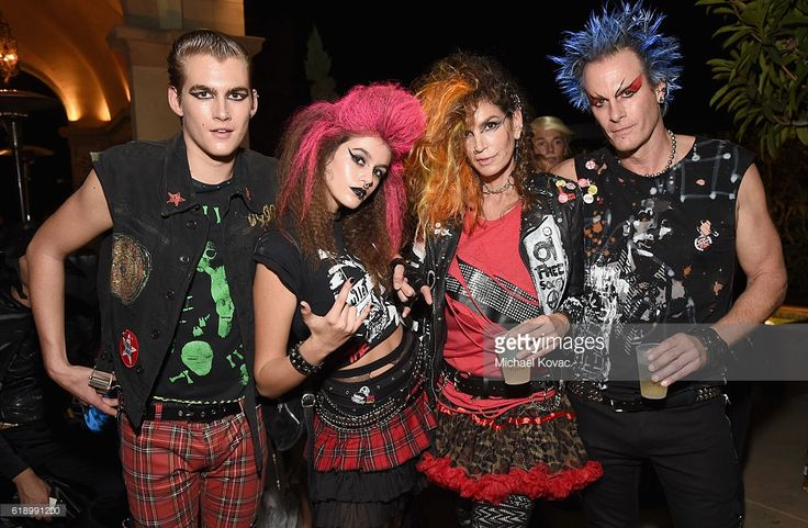 Presley Walker Gerber, Kaia Jordan Gerber, model Cindy Crawford and Casamigos co-founder Rande Gerber attend the Casamigos Halloween Party at a private residence on October 28, 2016 in Beverly Hills, California.