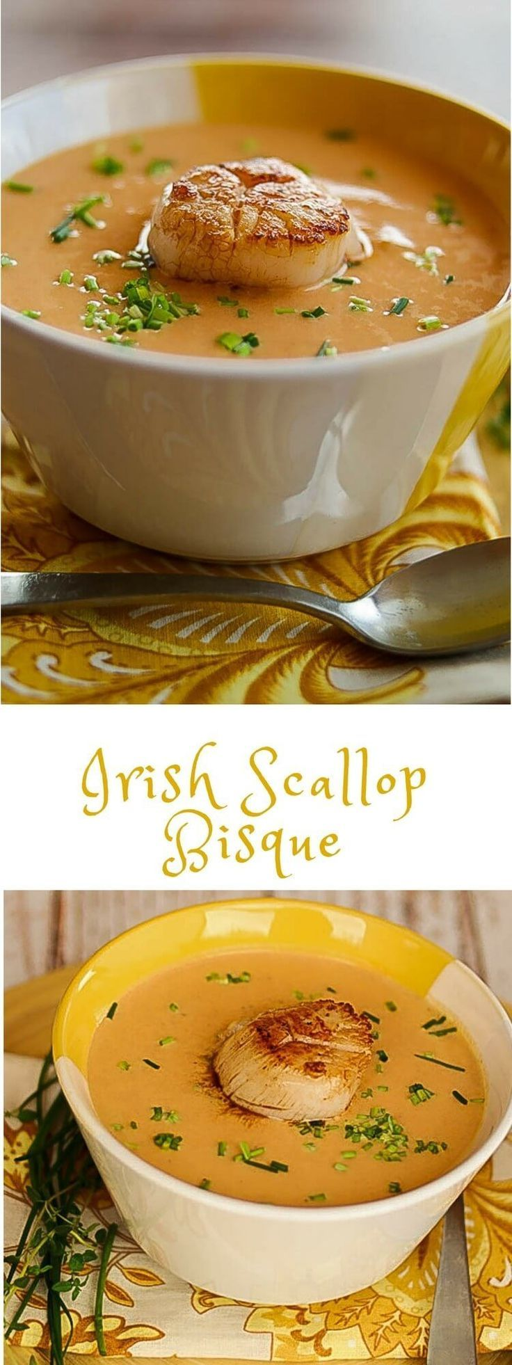 Irish Scallop Bisque - Luxurious flavors abound in this creamy bisque! It's perfect as an elegant starter course, or a light main course with bread and a salad... Scallop bisque recipe | Bisque | seafood soups | starter courses