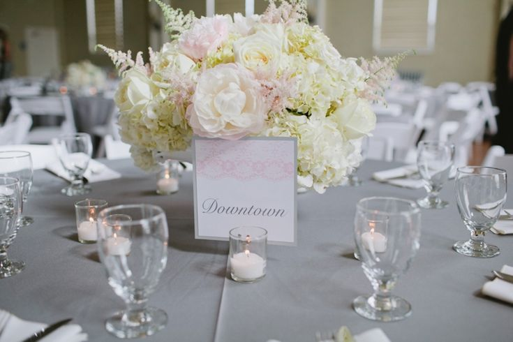 Blush pink and white low centerpiece photo by jennifer