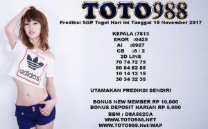 Prediksi SGP Togel Hari Ini Tanggal 19 November 2017