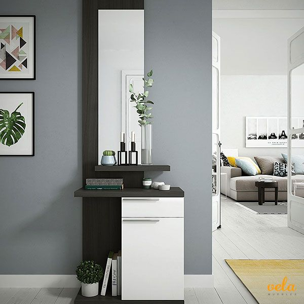 Bonito recibidor color Gris / Blanco Fores 186 X 61 X 29 cm