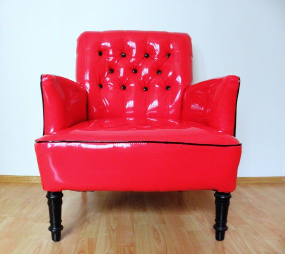 Red lacquer armchair from 60's by updatechair on Etsy, €670.00