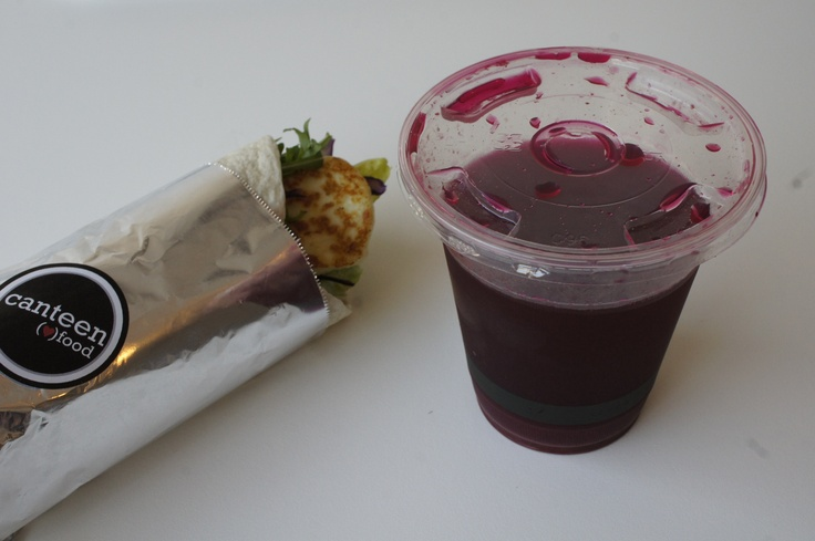 Hello Halloumi Wrap and Heartbeet Drink