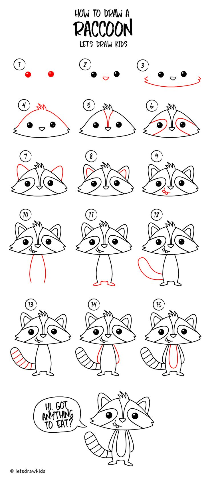 How to draw a Raccoon. Easy drawing, step by step, perfect for kids! Let's draw kids.