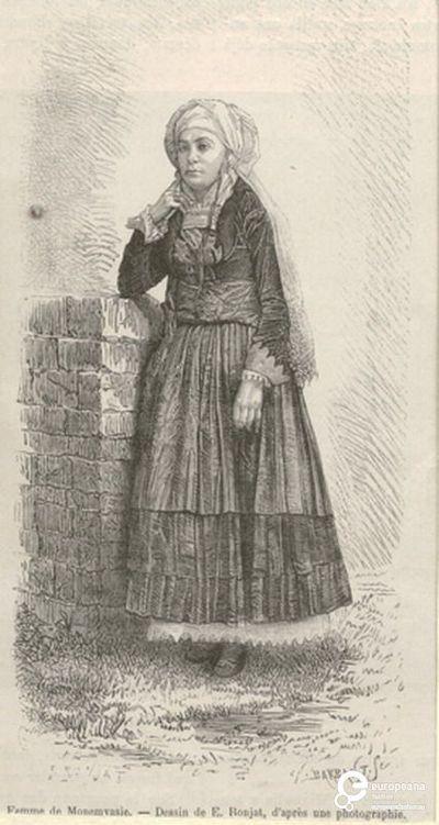 """Γυναίκα με φορεσιά από τα Ψαρά. Eπιγραφή: """"Femme de Monemvasie. Dessin de E.Ronjat, d' après une photographie"""". Υπογραφές: """"E.RONJAT"""", """"SH. BARBANT.SC"""". Από το περιοδικό """"Le Tour du Monde"""", Paris, 1876, σελ. 5. Ημερομηνία Δημιουργίας: 1876. Συλλέκτης: Peloponnesian Folklore Foundation Ίδρυμα: Europeana Fashion. Συλλέκτης: Peloponnesian Folklore Foundation Ίδρυμα: Europeana Fashion"""