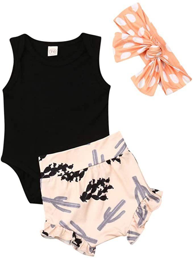 3Pcs Newborn Baby Girl Summer Shorts Outfit Sleeveless Bodysuit Romper+Ruffles Short Pants+Headband Clothes