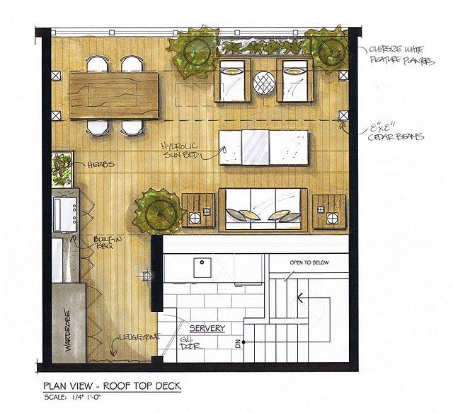 Urban Rooftop Deck plan/ By Cubic Yard Design
