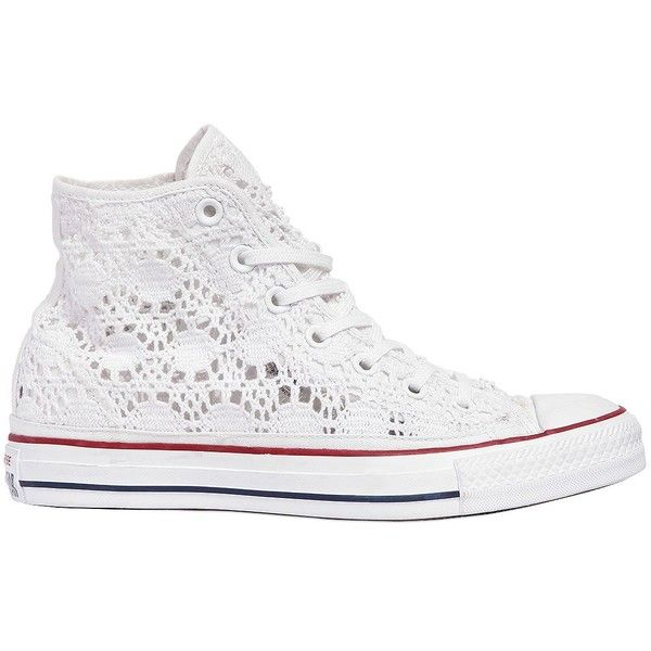 Converse Women Chuck Taylor Crochet Sneakers (206 CAD) ❤ liked on Polyvore featuring shoes, sneakers, white, macrame shoes, white trainers, white eyelet sneakers, grommet shoes and eyelets shoes