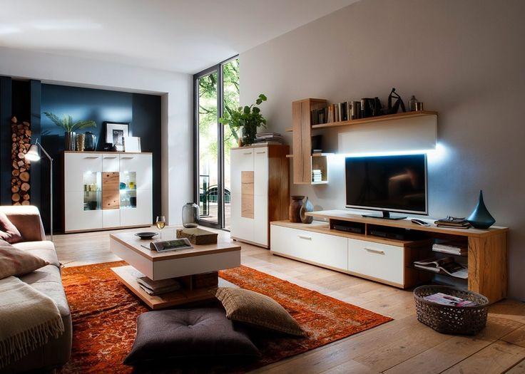 Wohnwand Nizza mit Sideboard Eiche mit Weiß 20633. Buy now at https://www.moebel-wohnbar.de/wohnwand-nizza-mit-sideboard-eiche-mit-weiss-20633.html