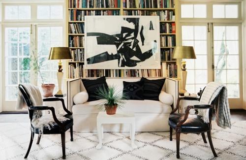 All of it.: Bookshelves, Livingrooms, Living Rooms, Black And White, Bohemian Living, Interiors Design, Black White, White Couch, Art Rooms