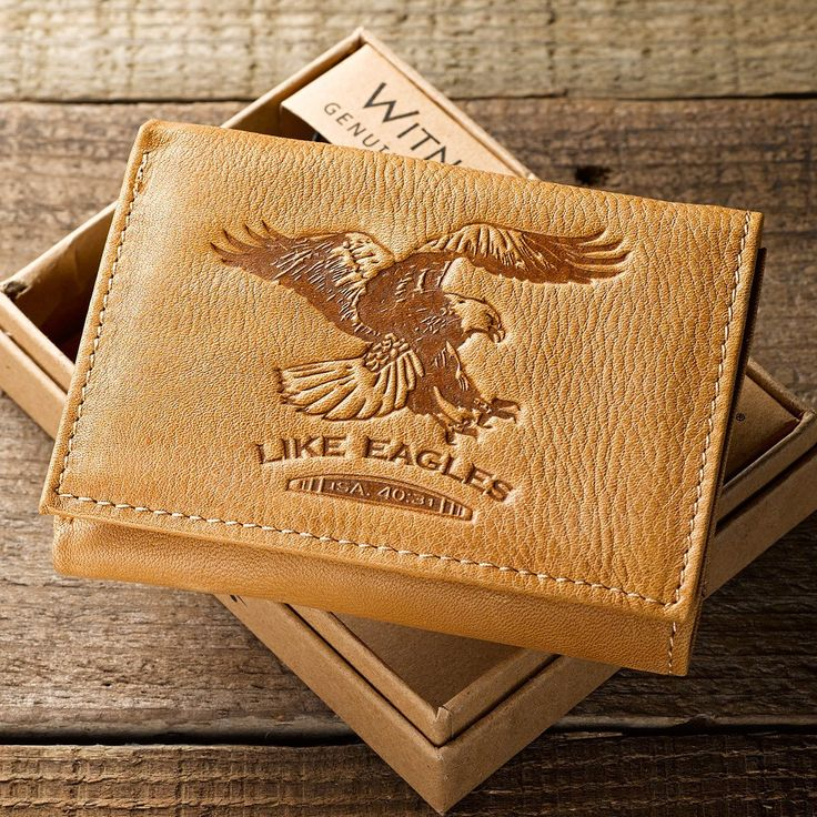 Light Brown Genuine Leather Men's Tri-Fold Scripture Verse Wallet | Isaiah 40:31