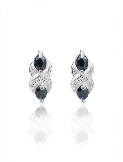 9ct Sapphire & Diamond Stud Earrings - Available at Onyx Goldsmiths
