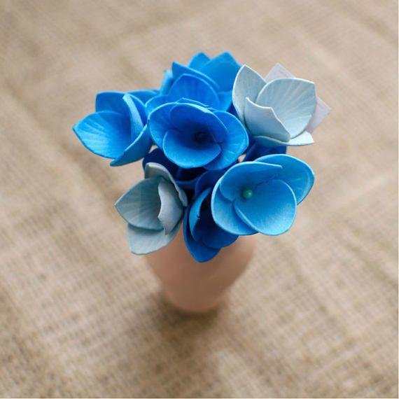 Sky Blue Foam Flowers 6 pcs Mixed Flower Jewelery making