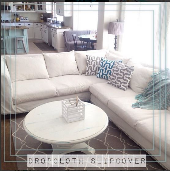 slipcovered sectional couch - bleached Lowes dropcloths 3 times!
