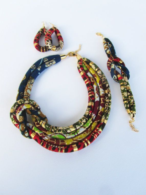 Afrocentric necklace/ Asymmetric necklace/  Ankara fabric set/ side knot necklace