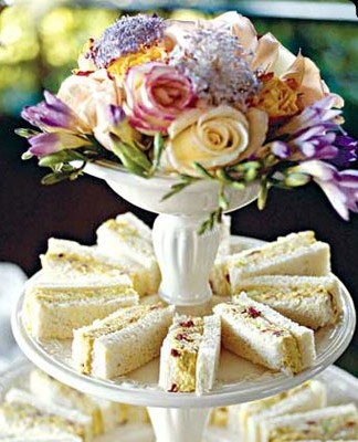 Tea Time Traditional Tea Sandwiches. What exactly are Traditional Tea Sandwiches? Traditional Tea Sandwiches are small. They are regular size sandwiches that are either cut into 4 squares or triangles. Sometimes they are cut into decorative shapes with a cookie cutter & are always crustless / Tiny New York Kitchen™. www.teacampaign.ca. Source: see below.