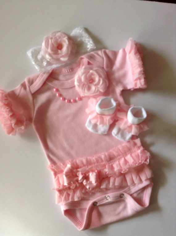 Newborn baby girl outfit pink ruffled pearls by BeBeBlingBoutique