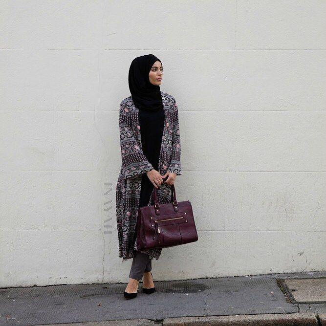 INAYAH | Black Crepe Midi #Dress + Ash Grey Straight Cut #Trousers + Black Georgette #Hijab + Tribal Print #Kimono