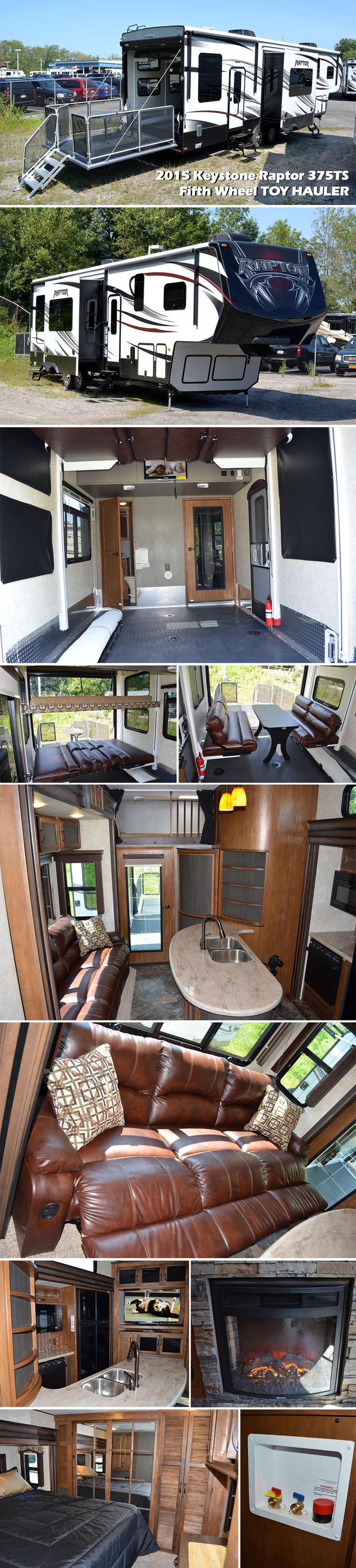 This Raptor fifth wheel TOY HAULER 375TS by Keystone RV has everything you need to enjoy camping with family, friends, and a few toys! When you reach your destination and the toys are removed there is extra living space with dual opposing sofas and an electric bed above. The twin loft overlooks the main living area which the kids will certainly enjoy. Also find a convenient half bath with toilet and sink in the cargo area so you don't have to track dirt and grim inside.
